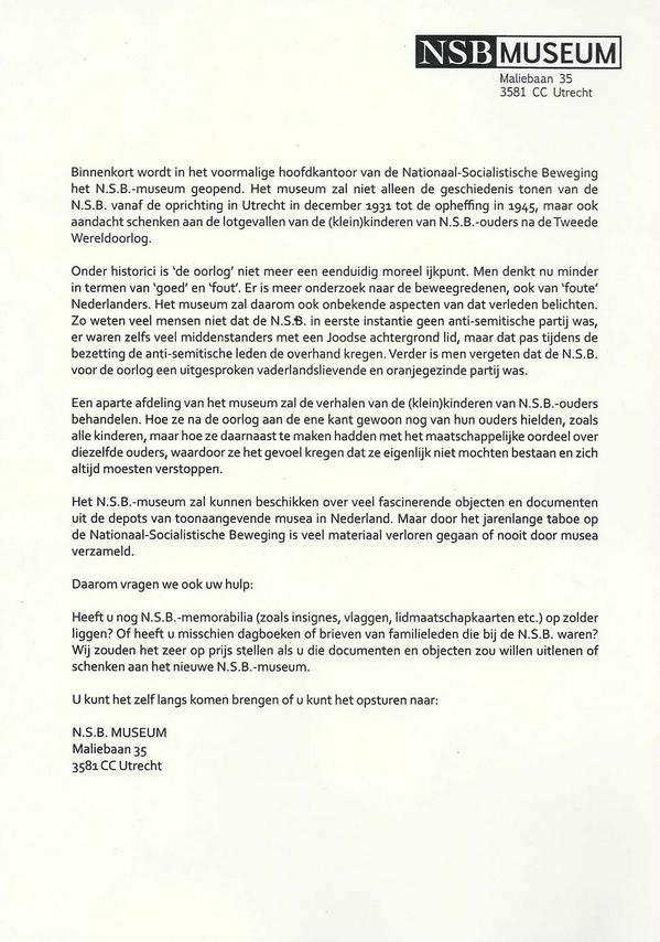 De brief over het NSB-museum (Twitter)
