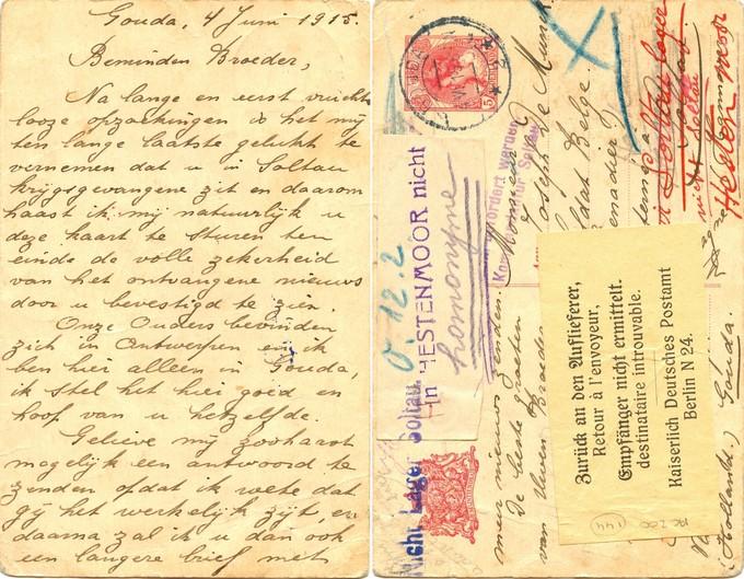De briefkaart die retour kwam (Streekarchief Midden-Holland)