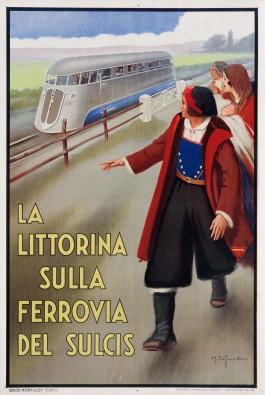 Affiche Littorina Ferrovia del Sulcis. Mario Caffaro Rore, 1935 (Galleria L'image, Alassio)