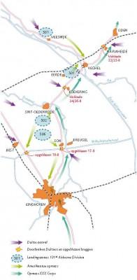 Kaart van de 'Hells Highway', waar de geallieerde opmars tussen 24 en 26 september ernstig vertraagd werd door een Duitse blokkade bij Koevering. - © uit: De bevrijding in Beeld  / Vantilt fragma