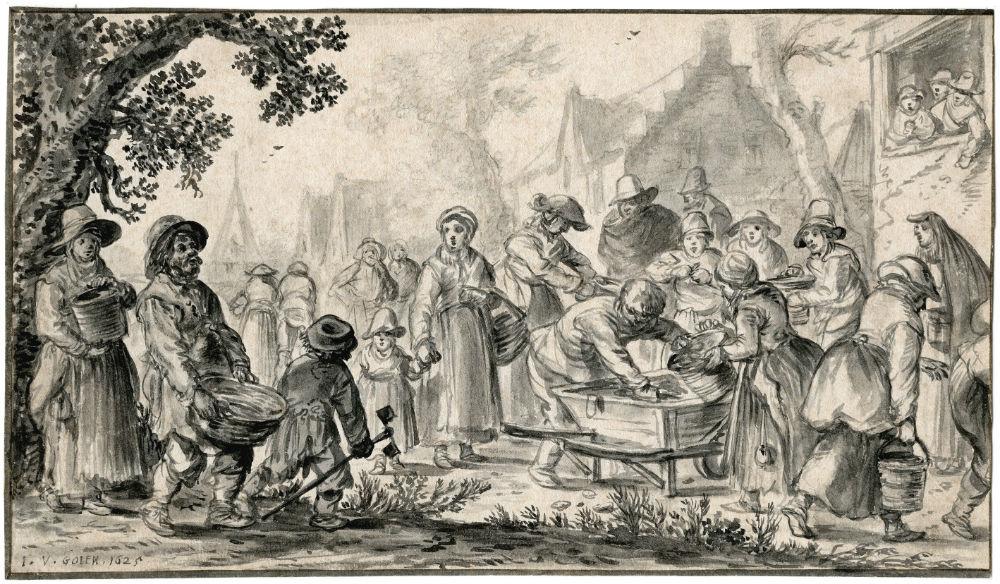 Werk van Jan van Goyen dat in de tentoonstelling te zien is (Rembrandthuis)