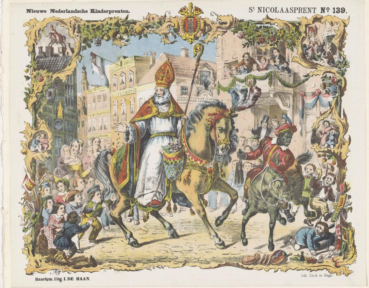Intocht van St. Nicolaas, Kleurenlitho, druk Emrik en Binger, uitgave I. de Haan, Haarlem, ca. 1870 (Rijksmuseum)