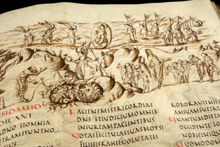 Utrechts Psalter - Psalm 102 (nu 103) - Afgebeeld wordt o.a. 'De Heer … redt uw leven van het graf, hij kroont u met trouw en liefde, … uw jeugd vernieuwt zich als een adelaar. (UU)