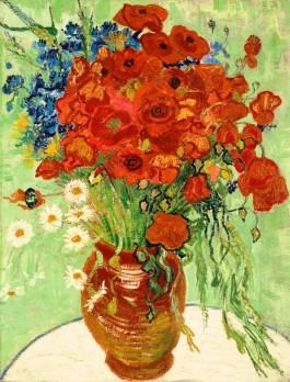 Vaas met rode klaprozen en madeliefjes - Vincent van Gogh, 1890
