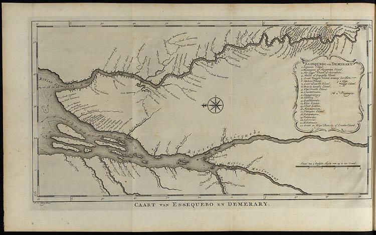 Kaart van Essequebo en Demarary (nu in Guyana). De kaart staat op zijn kant; het noorden is links. Boven de rivier Demerary; onder Rio Essequebo. De plantages lagen langs de oevers. Gravure van Jacobus van der Schley (1770).