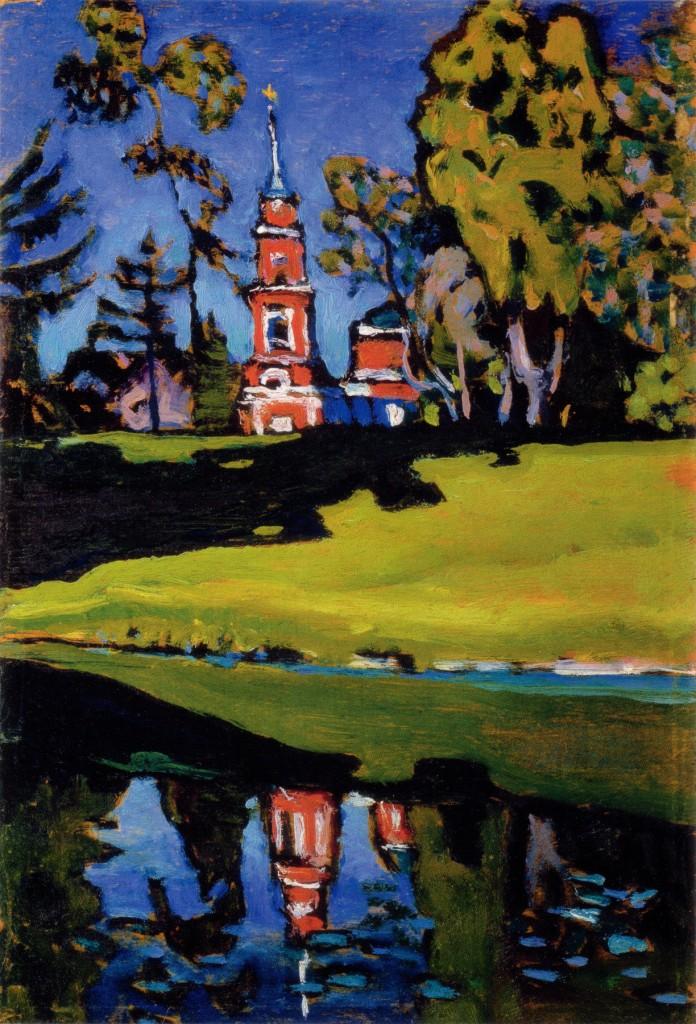 Okhtyrka. Rode Kerk - Kandinsky, 1908