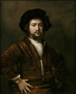 Portret van een man met de handen in de zij - Rembrandt, 1658 (Rembrandthuis)