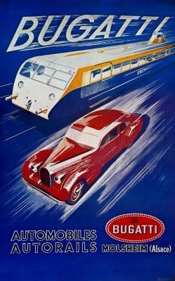 Poster Bugatti Automobiles Autorails, 1938 door R. Géri (Bugatti Trust, Prescott)