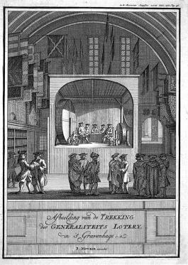 Trekking van de Generaliteitsloterij (uitgeven door B. Mourik in 1777)