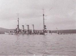 Zinkende Duitse kruiser SMS Frankfort