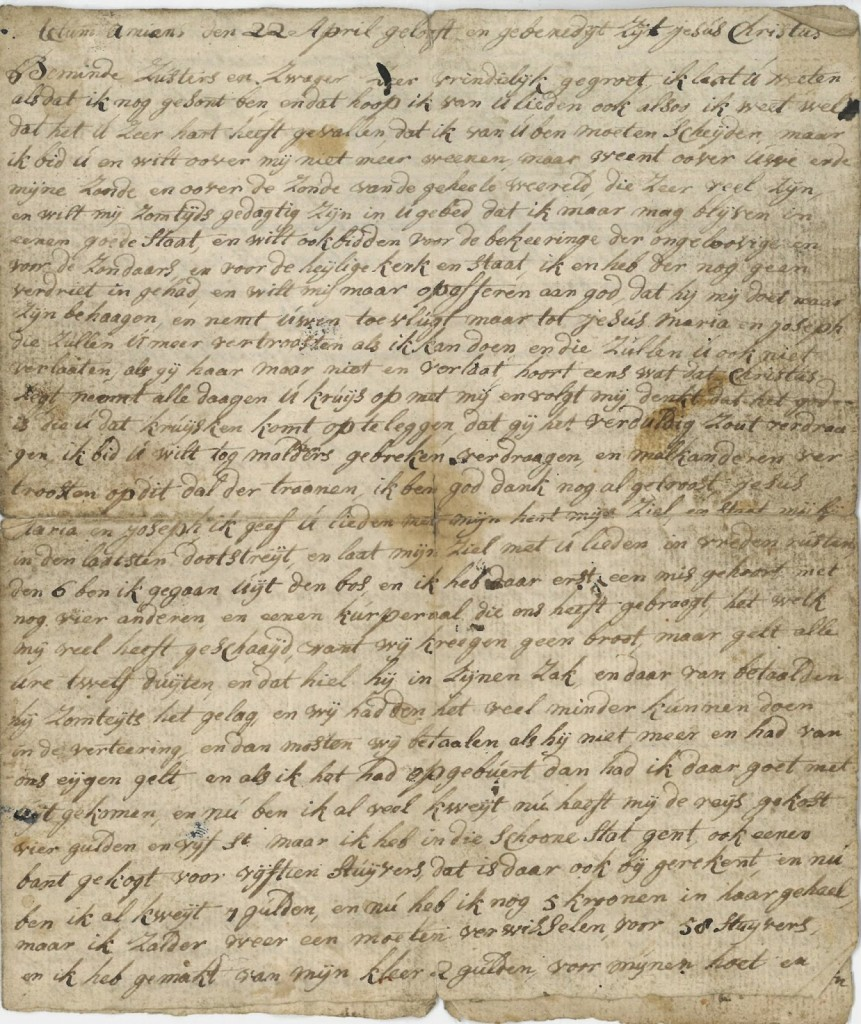 De eerste brief van Ermers, nog geschreven vanuit Amiens