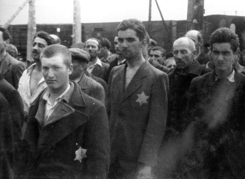 Mannen geselecteerd voor dwangarbeid (Auschwitz Album, mei 1944)