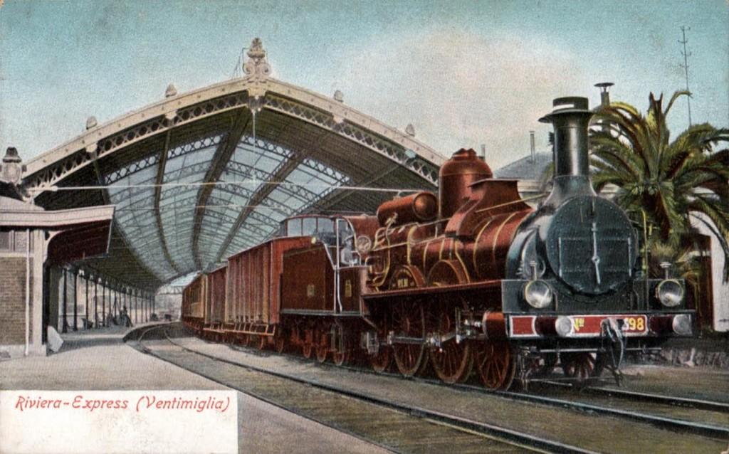 De Riviera Express op station Ventimiglia, ca. 1905