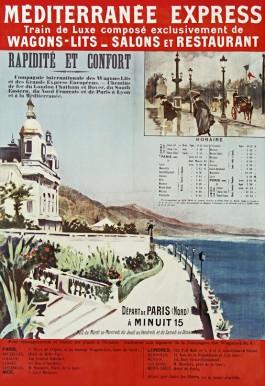 Eerste affiche Méditerranée Express door Rafael de Ochoa y Madrazo, 1889