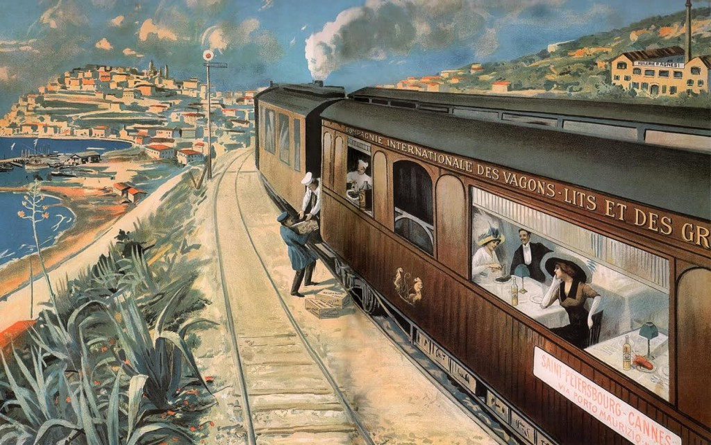 Affiche P. Agnesi olijfolie met Petersburg-Cannes Express, ca. 1905