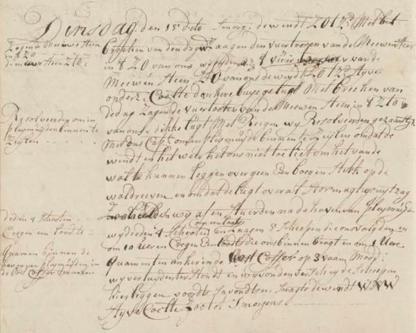 Het Journaal van opperstuurman Pruijmelaar van 15 februari 1763 maakt duidelijk dat d' Eenigheid door de storm in een penibele situatie verzeild raakte.