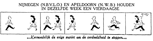 Cartoon over de Vierdaagse in de Telegraaf van 6 januari 1953