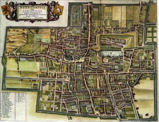 Den Haag anno 1649 door J. Blaeu., met een duidelijke weergave van de omgrachting.