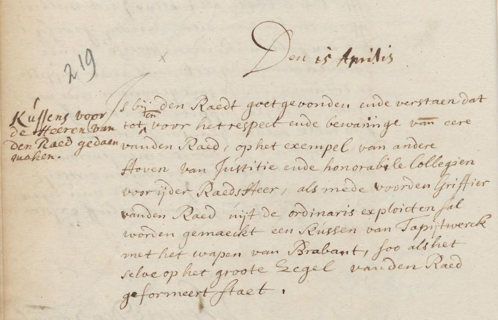 Fragment uit een resolutie van de Raad van Brabant (BHIC)