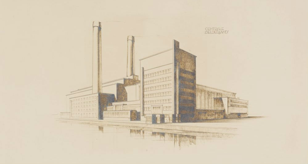 Tekening van de bouw van de Centrale Gelderland, 1932. (Gelders Archief 0039-12874-0001)