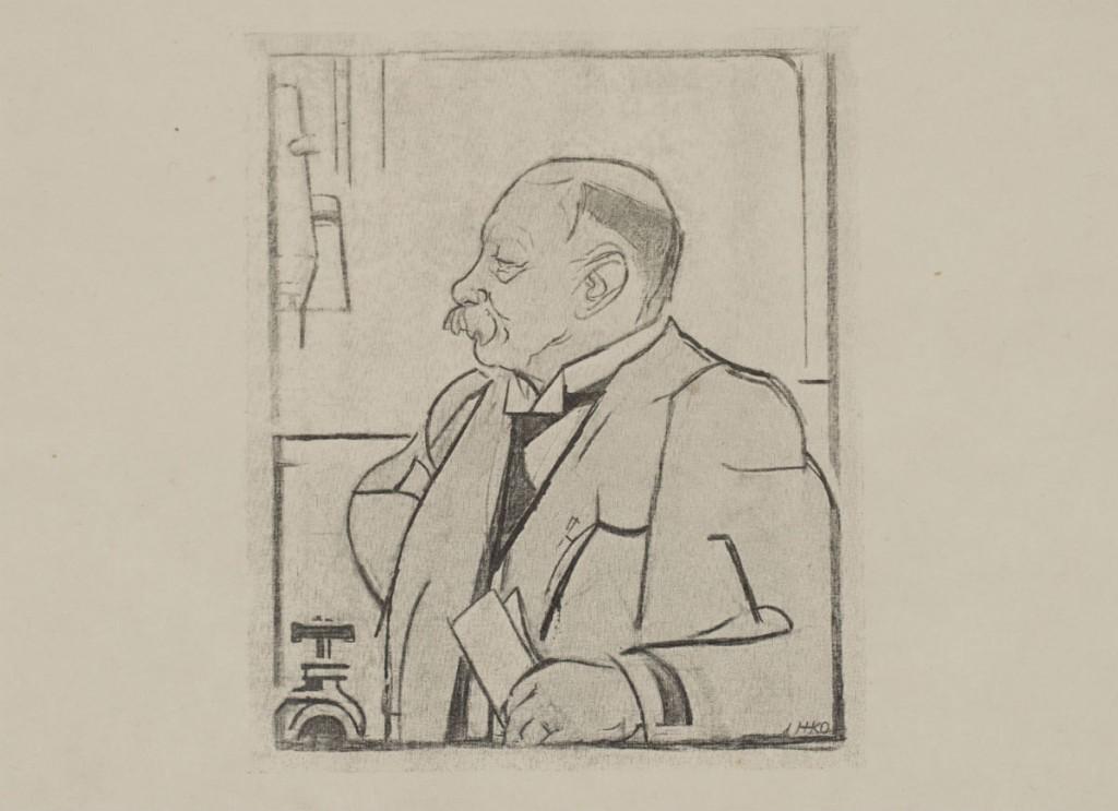 Heike Kamerlingh Onnes litho ca. 1920 door Harm Kamerlingh Onnes (Boerhaave)
