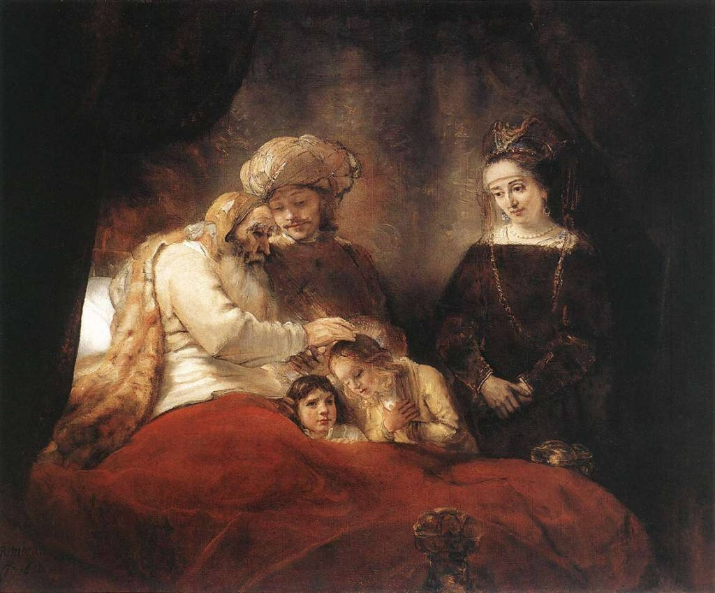 Jacob zegent de zonen van Jozef, Rembrandt Harmensz van Rijn, ca. 1655 - 1658 (Gemäldegalerie Alte Meister, Staatliche Museen, Kassel)