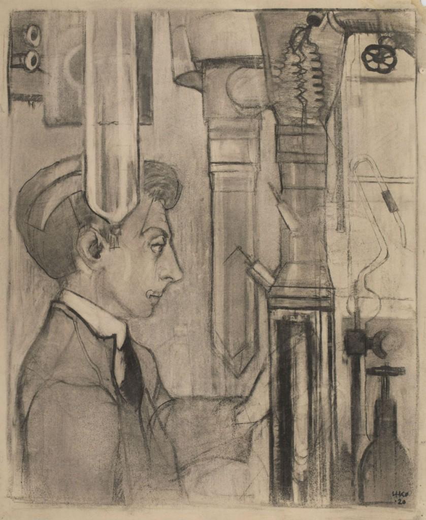 Laboratoriummedewerker bij heliumliquefactor, krijttekening 1920 door Harm Kamerlingh Onnes (Boerhaave)