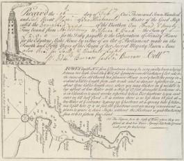 Rijk geillustreerd douanedocument uit Plymouth, dat bevestigt dat kapitein Menkenveld zich op 16 februari 1763 in Plymouth meldde.