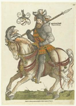 Portret van Maarten van Rossum te paard. Ets van Cornelis Anthonisz., ca. 1540. Collectie Rijksmuseum.