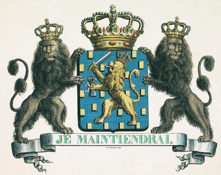 Het wapen van het Koninkrijk der Nederlanden, zoals bepaald op 24 augustus 1815. Twee bekroonde leeuwen aan weerszijden van een schild met een koningskroon.