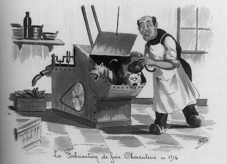 De fabricage van fijne charcuterie… een vingerwijzing dat meer dan eens huisdieren in het vleescircuit terecht kwamen (Stadsarchief Brussel, cartoon uit het Fonds Keym)