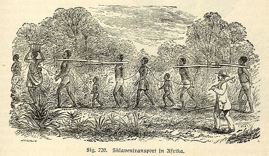 19e-eeuwse gravure van een slaventransport - cc
