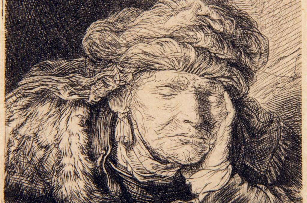 Slapende oude vrouw - Rembrandt van Rijn