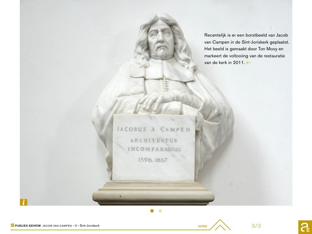Borstbeeld van Jacob van Campen in de St. Joriskerk. (Still app Publiek Geheim)