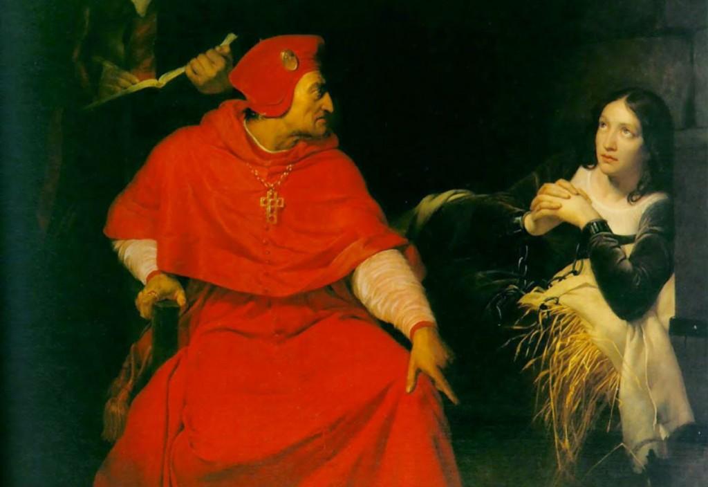 Jeanne d'Arc in de gevangenis ondervraagd door Henri de Beaufort, de kardinaal van Winchester, Paul Delarroche, 1824, Musée des Beaux-Arts de Rouen.