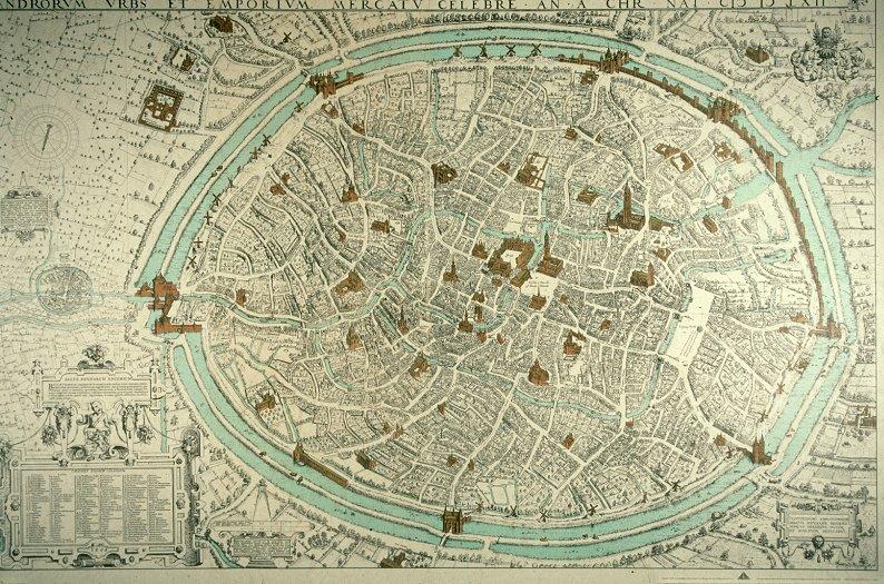 Kaart van Brugge uit 1562 door Marcus Gerards. - cc
