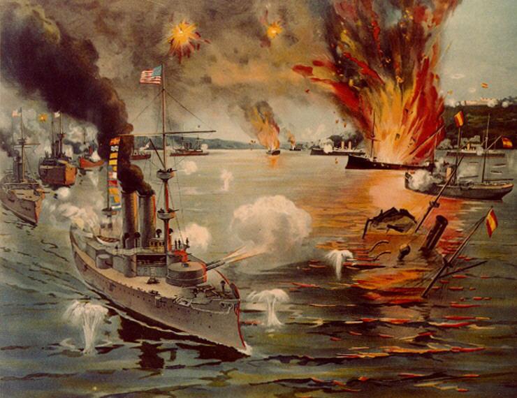 Slag in de Baai van Manilla, onderdeel van de Spaans-Amerikaanse Oorlog - cc