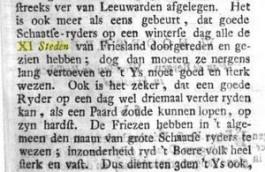 Passage over de XI-steden-tocht in de Historische Beschryvinge van Vriesland (ca. 1763).