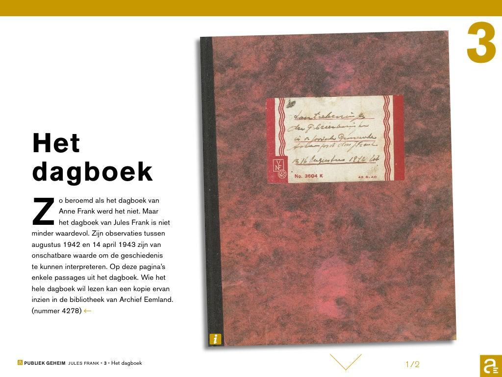 Het oorlogsdagboekje van de Joodse slager Jules Frank, die bijhield wat er in Amersfoort gebeurde, totdat hij zelf op 15 april 1943 moest verhuizen: via Amsterdam en Westerbork naar Sobibor, waar de gaskamer wachtte.