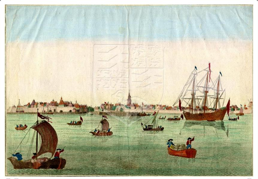 De rede van Vlissingen met een VOC-schip en beurtschepen, aan het einde van de 18e eeuw. (Bron:GAG,HTA)
