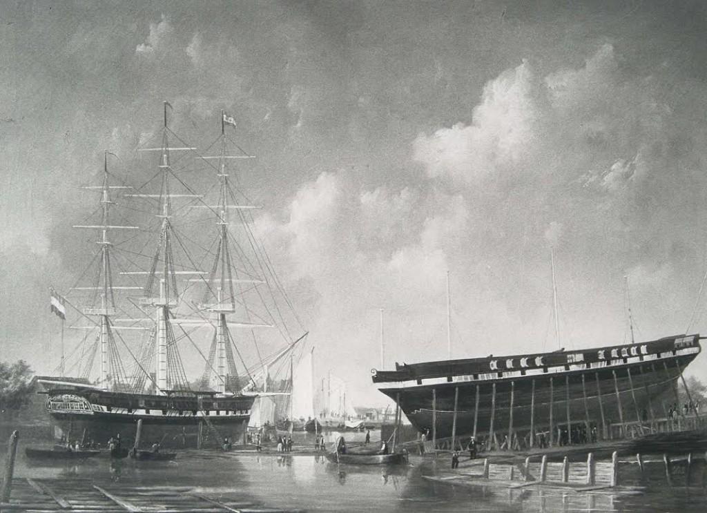 Scheepswerf van C. Gips & Zonen aan de Riedijkshaven met fregatschip Oud Alblas, augustus 1836 (Regionaal Archief Dordrecht)