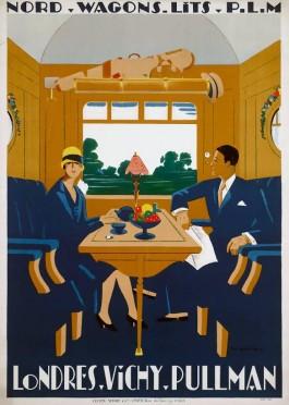 Affiche London-Vichy Pullman door Jean-Raoul Naurac, 1927 (Spoorwegmuseum)