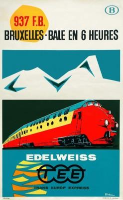Affiche TEE Edelweiss door Paul Funken, 1962 (coll. Arjan den Boer)