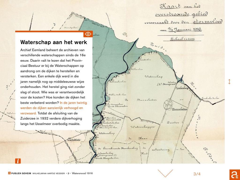 De gevolgen van de overstroming van 1916 in het Eemland, bij het verhaal van Wilhelmina Aaltje Vedder uit Spakenburg, die tijdens de stormramp geboren werd en petekind werd van koningin Wilhelmina. (Still app Publiek Geheim)
