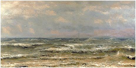 Les Brisants de la Mer du Nord, olieverf op canvas (H.W. Mesdag, 1870). Collectie Mesdag.