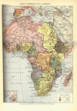 Kaart van Afrika in 1898 (gemaakt in 1912). Britse gebiedsaanspraken in het geel, Franse in het roze.