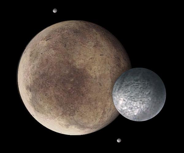 Artistieke impressie van Pluto met drie van zijn manen (NASA)