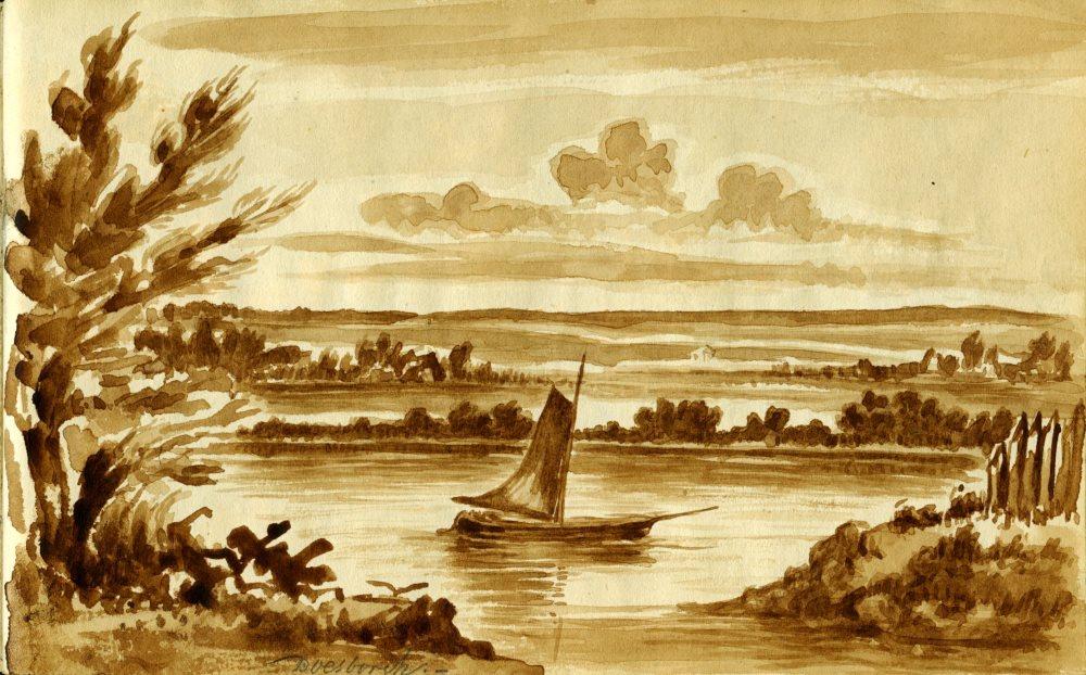J.F. Tack, IJsseltafereel bij Doesburg, 19e eeuw