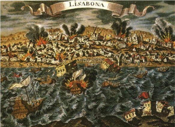 De aardbeving van Lissabon van 1 november 1755 op een ongedateerde fantasietekening (Archiv für Kunst und Geschichte, Berlin)