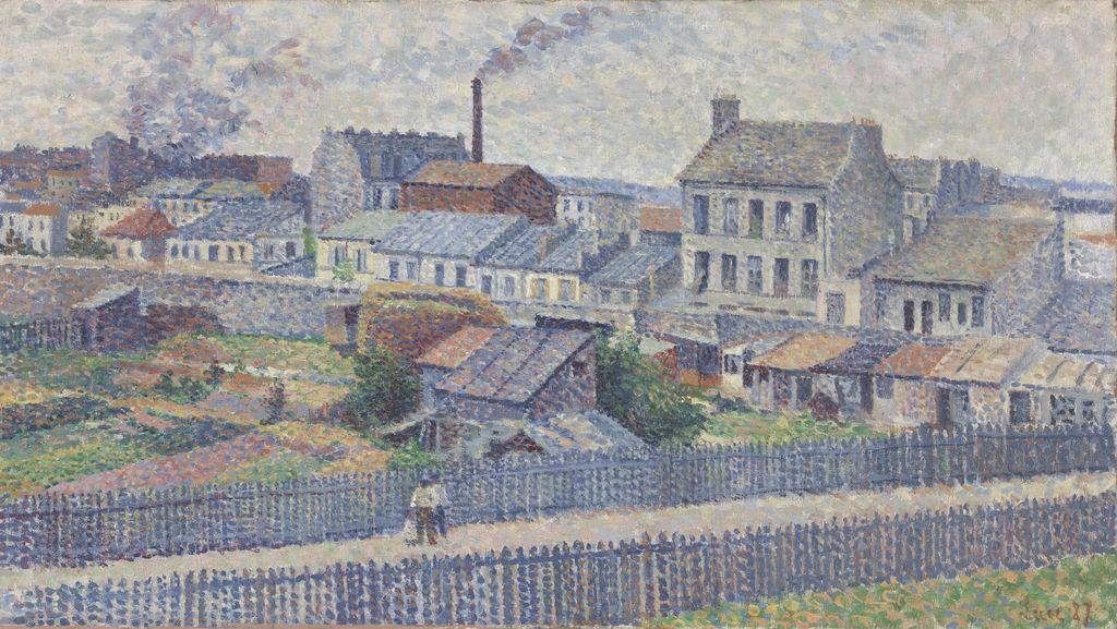 Maximilien Luce ,Terrain à Montmartre, Rue Championnet (Stadsrand bij Montmartre, Rue Championnet/ Outskirts of Montmartre, Rue Championnet), 1887